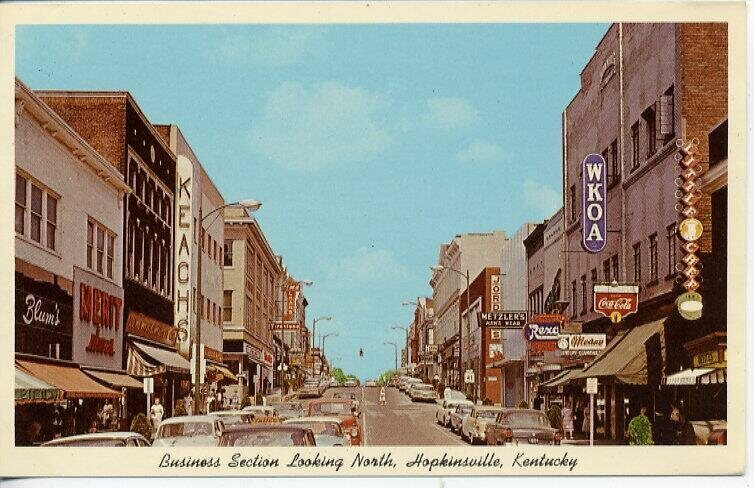 A postcard of Hopkinsville, Kentucky, from the 1950s.