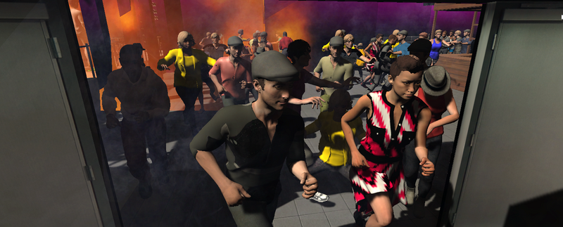 A screenshot of the Kiss nightclub simulation by the Virtual Reality Lab at Bowie State University.