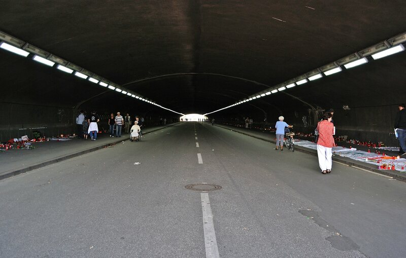 The narrow tunnel that was packed with people during the 2010 Love Parade in Germany.