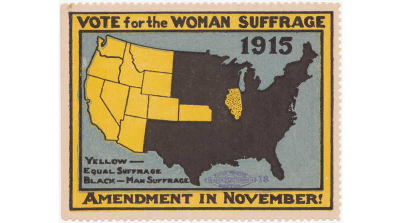 """Vote for the Woman Suffrage Amendment,"" another suffrage map from 1915."