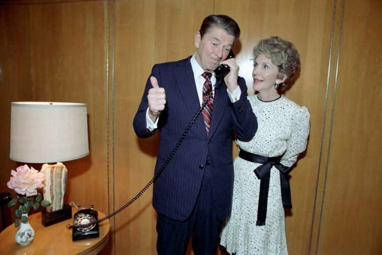 President Reagan receiving Walter Mondale's concession call in 1984.