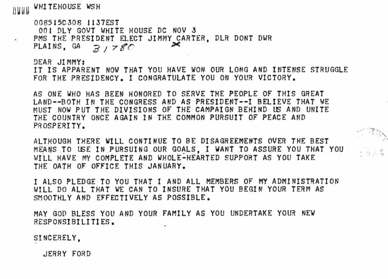 Ford's 1976 concession telegram.