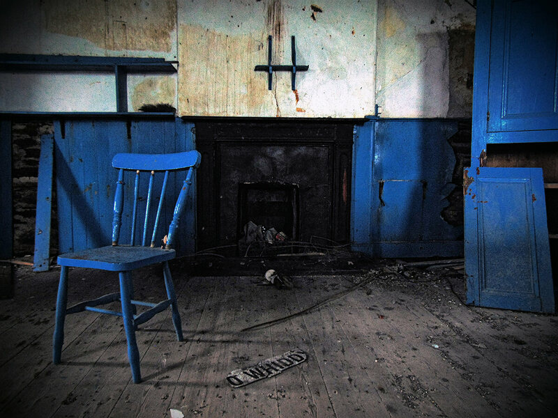 A chair remains at Whiddy Island National School.