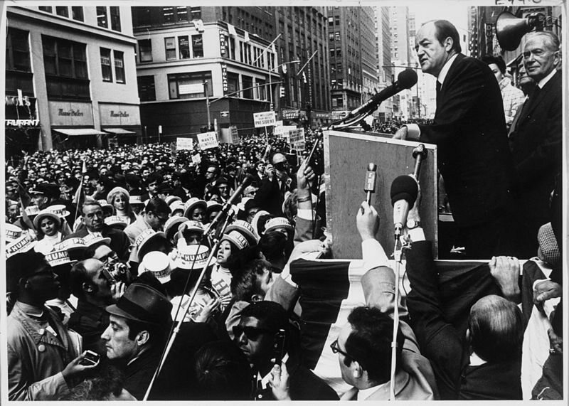 Hubert Humphrey campaigning in 1968.