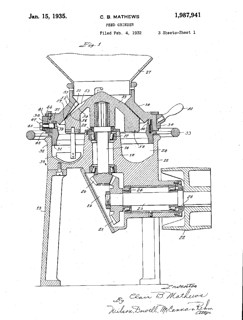A 1932 patent for a feed grinder, a process that led to the cheese curl.