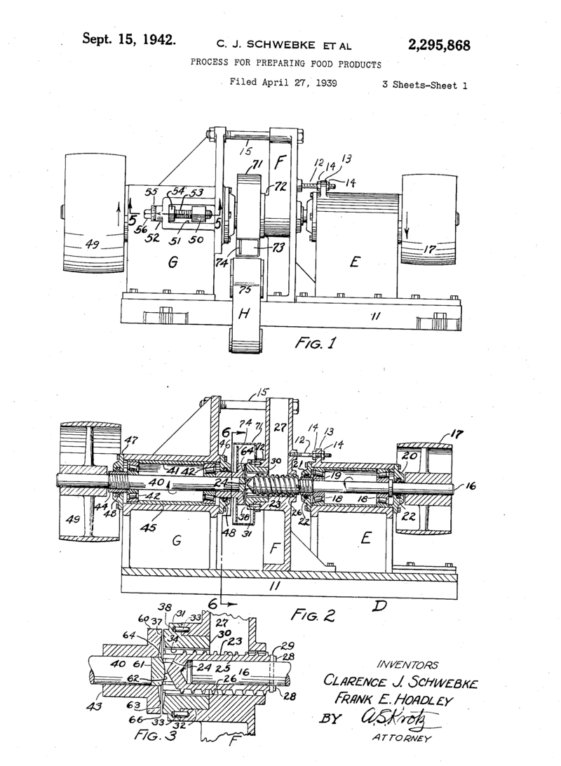 The 1942 patent for the preparation of cheese curls.