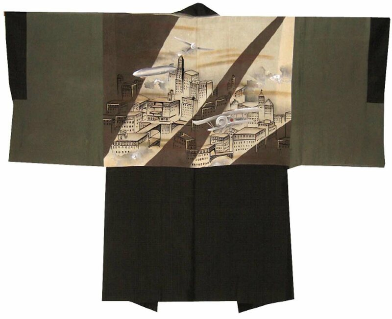 A kimono from the early 1930s depicting a city of the future.