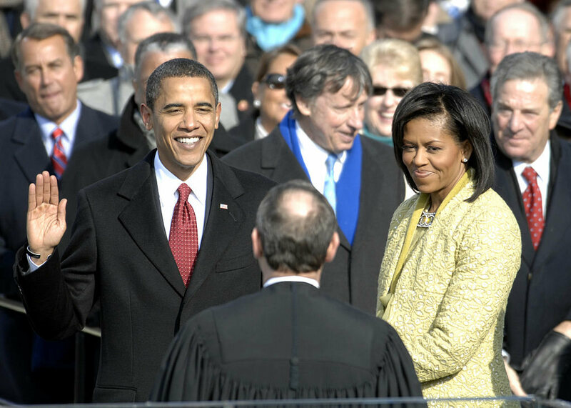President Obama is sworn in for the first time.