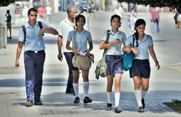 Cuban pre-college students in their uniforms.