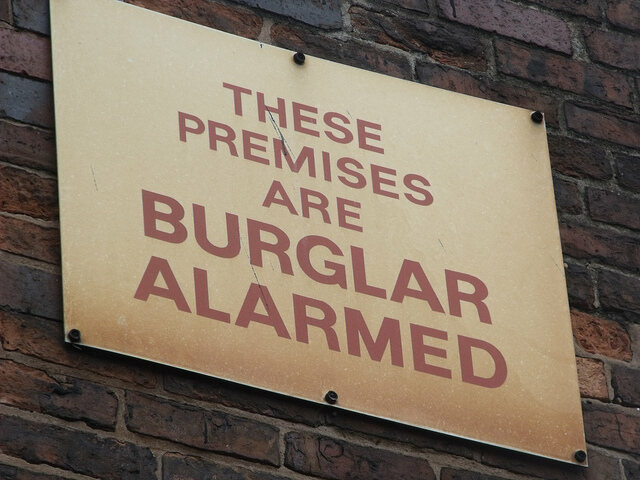 Notices of burglar alarms were used to discourage burglars from attempting a robbery.