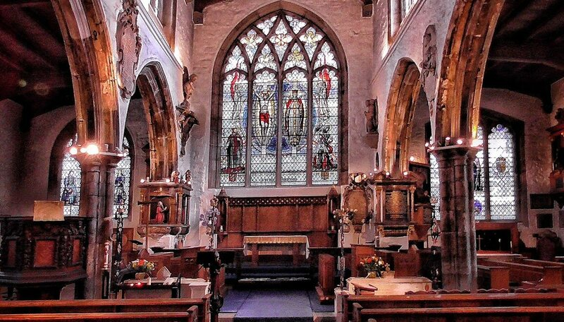 Interior of St Olave's showing the memorials to Tudor and Jacobean merchants.