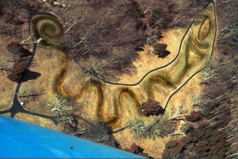 Aerial view of the The Great Serpent Mound, one of the most important prehistoric effigy mound of Adema Culture.