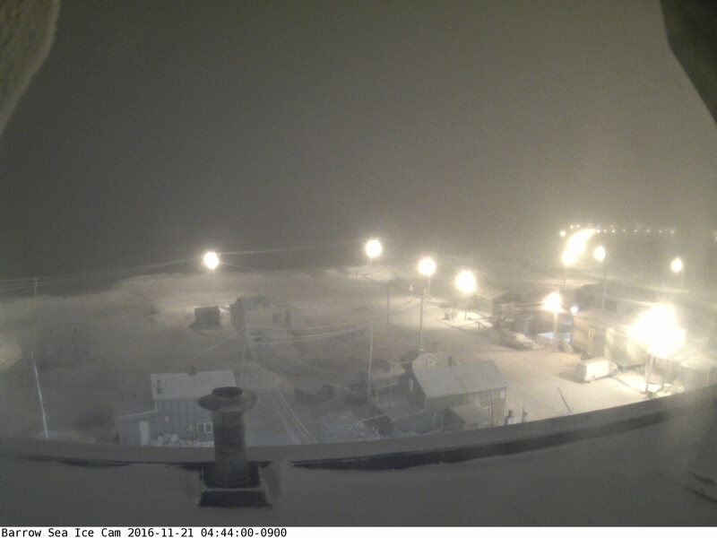 Barrow, Alaska in darkness on Monday.