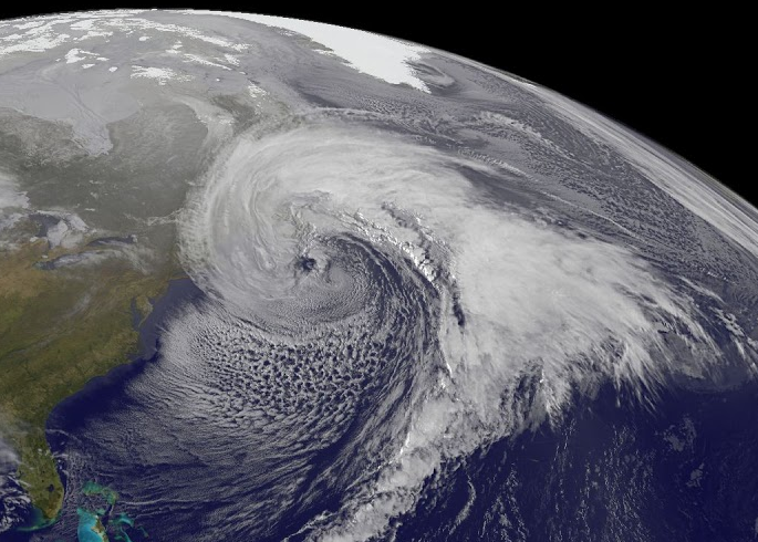 An extratropical cyclone near the north-eastern United States, 2014. The Bergen School developed the Norwegian Cyclone Model shortly after WW1.