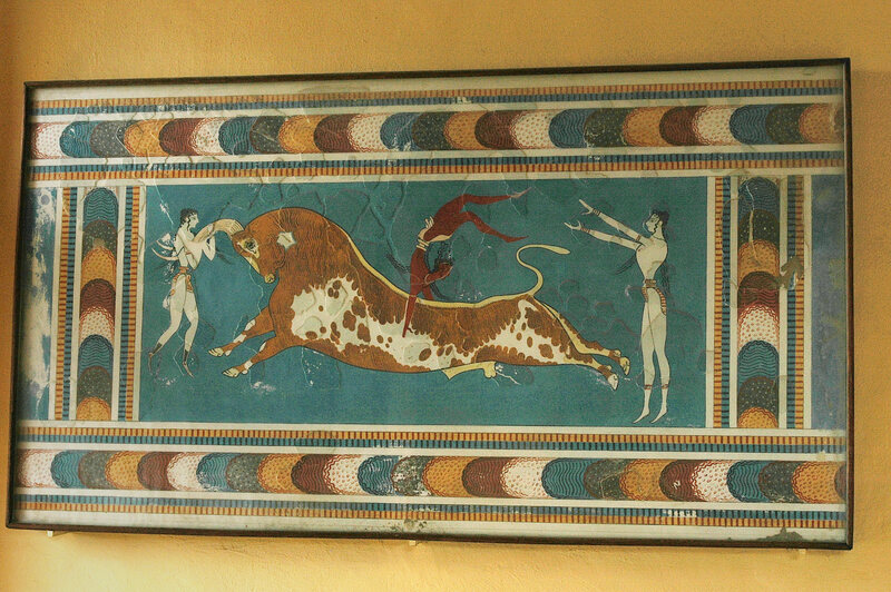 One of the frescoes 'restored' by Arthur Evans at Knossos.