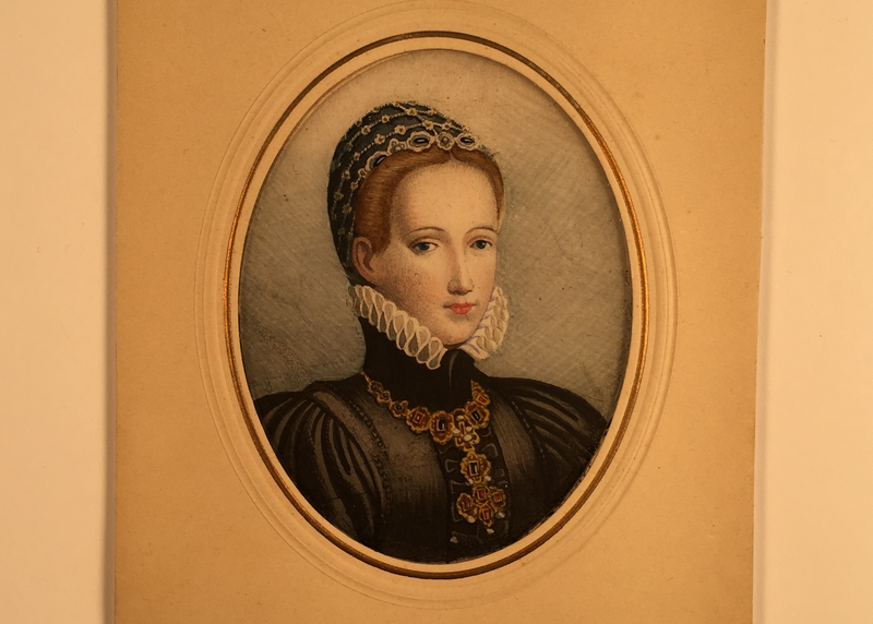 Underneath this watercolor portrait of Philippine Welser, wife of Archduke Ferdinand II, is a unique canvas made of ultra-thin cobwebs.