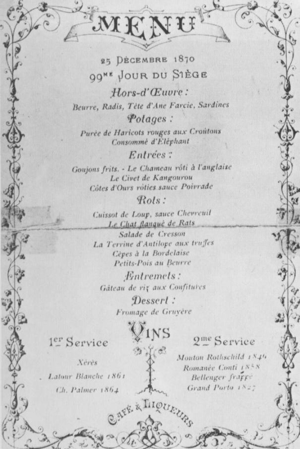 """Alexandre Étienne Choron's 1870 Christmas menu, featuring """"La Terrine d'Antilope"""" and """"Consomme d'Elephant."""""""