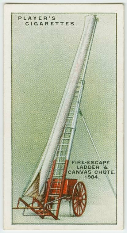 A fire escape ladder and canvas chute from 1884.