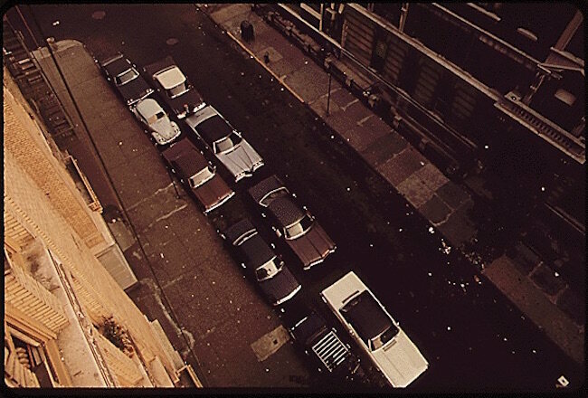 Double-parking for ASP, back in the 1970s.