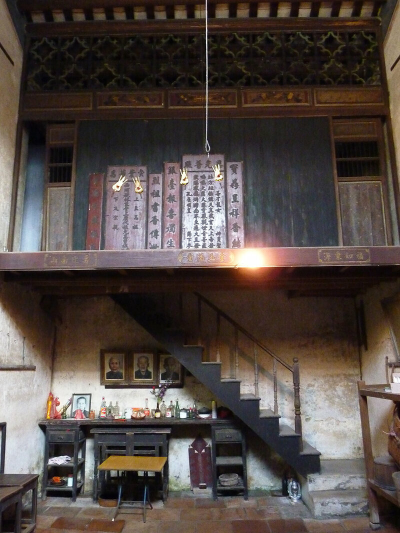 Lim family house interior showing the two-storey structure, Lum Ok Dei village, Toishan county, which Lim visited in 2009.