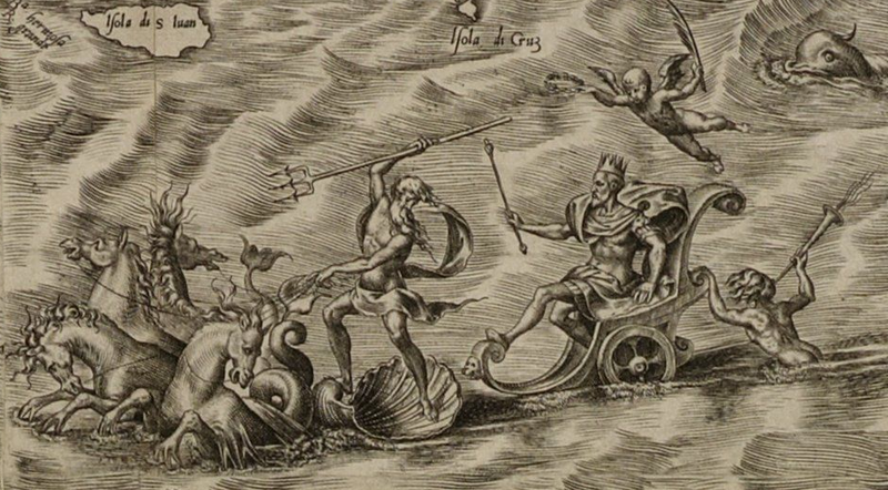 King Phillip II riding a carriage behind Poseidon.