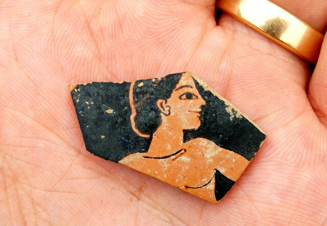 A piece of pottery dating to the late 6th century B.C.