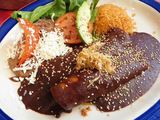 Mole sauce, with its unusual mix of flavors, is a common Incompatible Food Triad solution-killer.