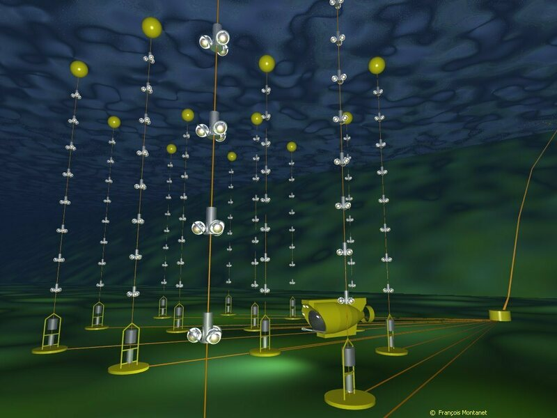 An illustration of the Antares neutrino detector.