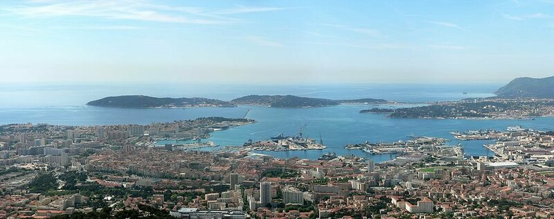 ANTARES is located in the Mediterranean Sea off the coast of Toulon, shown here.