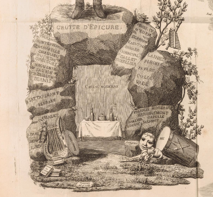 <em>The Cours Gastronomique</em>, in which the map was printed, was dedicated to the Caveau Moderne Society.