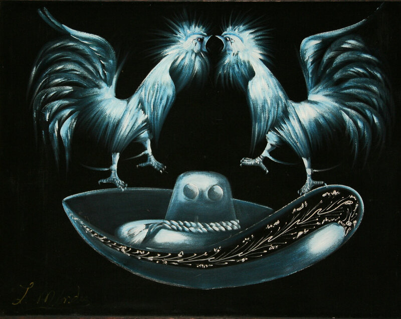 An example of a black velvet painting.