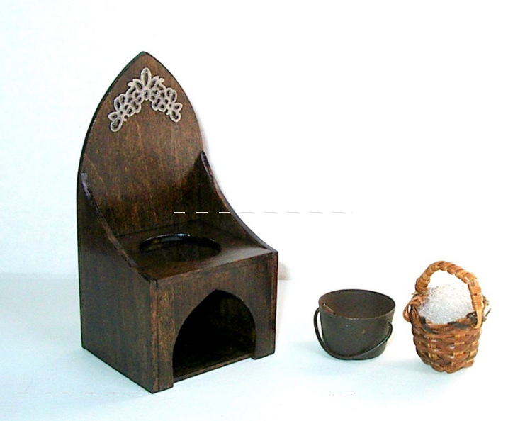 Gothic commode and chamber pot for dolls.
