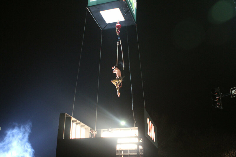 Celebrations in the town of Marietta, Georgia, in 2016 involved an eight-foot cube opening to reveal a trapeze artist.