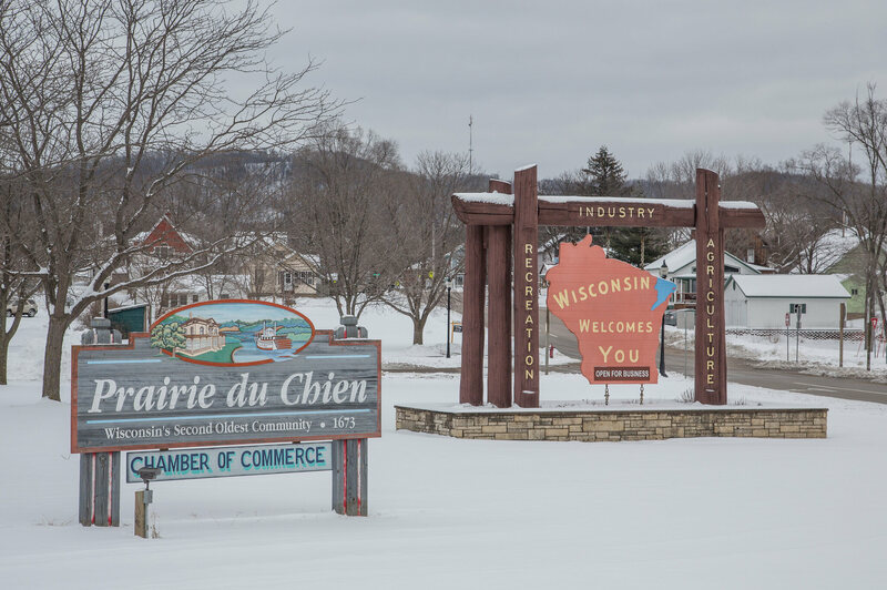 "Prairie Du Chien, Wisconsin, where New Year's Eve is celebrated with a ""carp drop""."