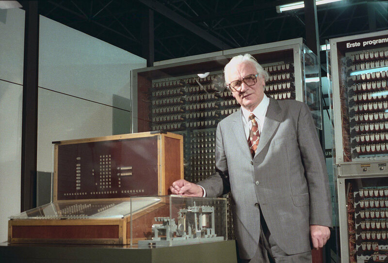 German engineer Konrad Zuse with Z3 - the world's first working programmable, fully automatic digital computer, created where the Kreuzberg vineyard is today.
