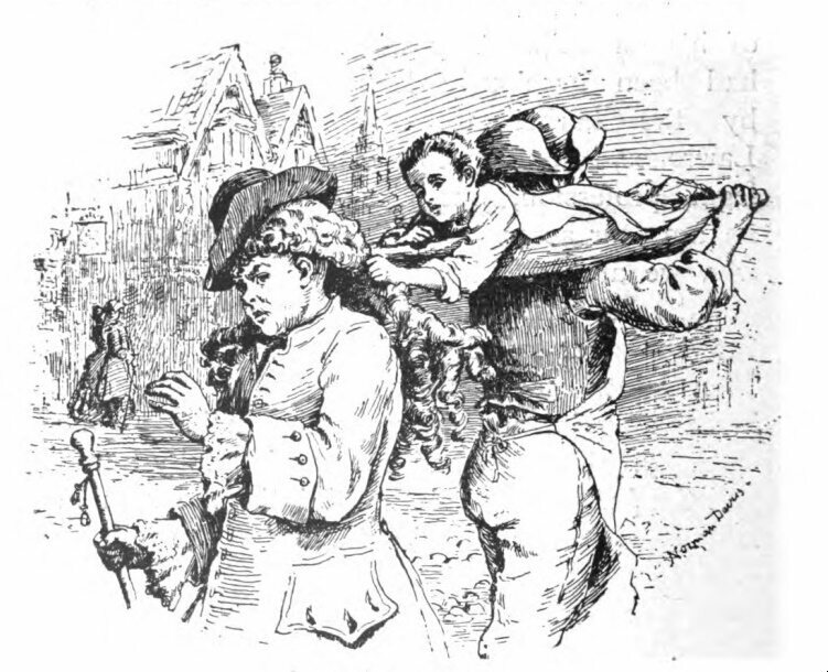 An illustration of one of the most successful wig thieving techniques, featured in <em>At the Sign of the Barber's Pole</em>.