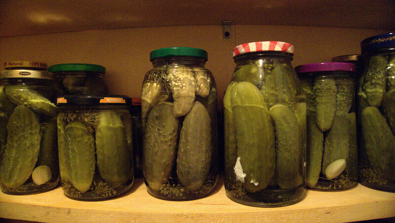 Jars of home-made pickles.