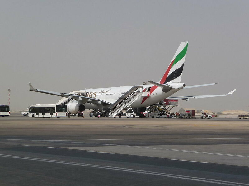 An Emirates flight in Muscat.
