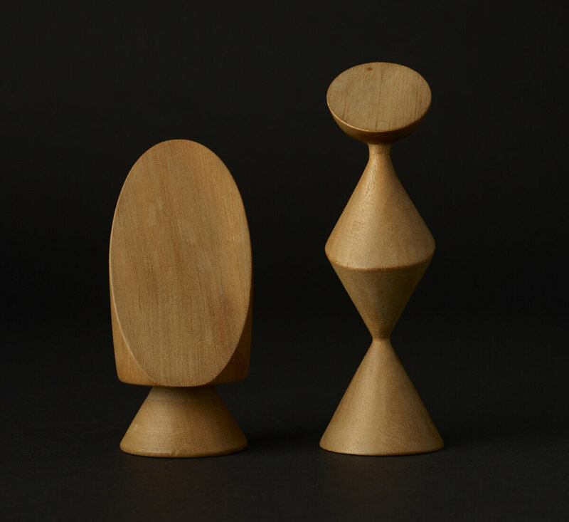 The king (left) and queen from Max Ernst's surrealist chess set, 1944.