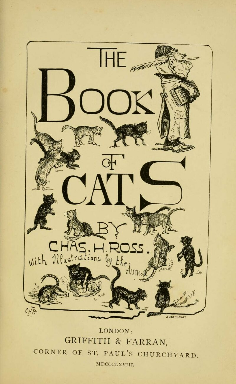 The title page of <em>The Book of Cats</em>, illustrated by Ross.