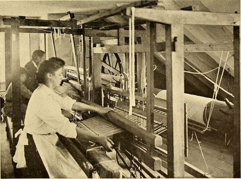 Working on a loom, 1905.