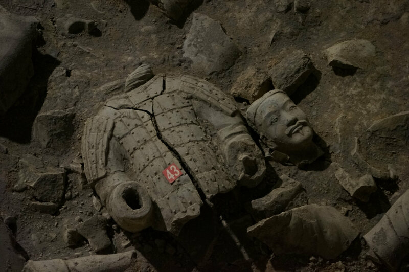 One of the original terracotta warriors, fallen with time.