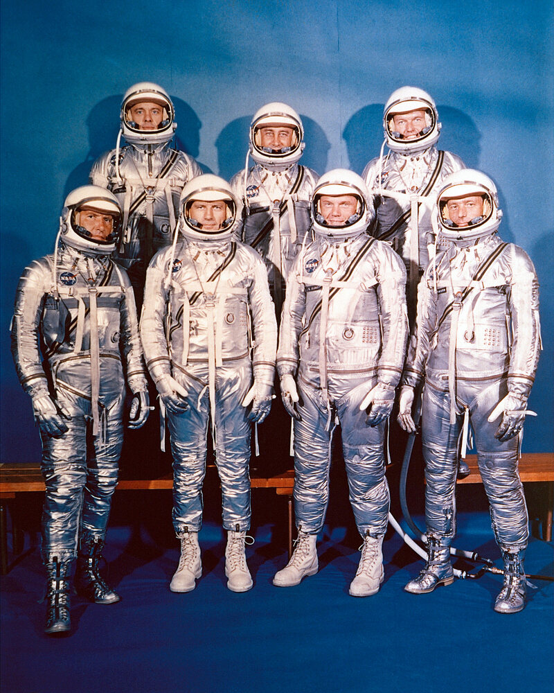 The seven astronauts of the 1963 Mercury Project.