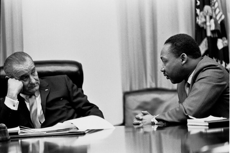 Martin Luther King with President Lyndon Johnson in 1966.