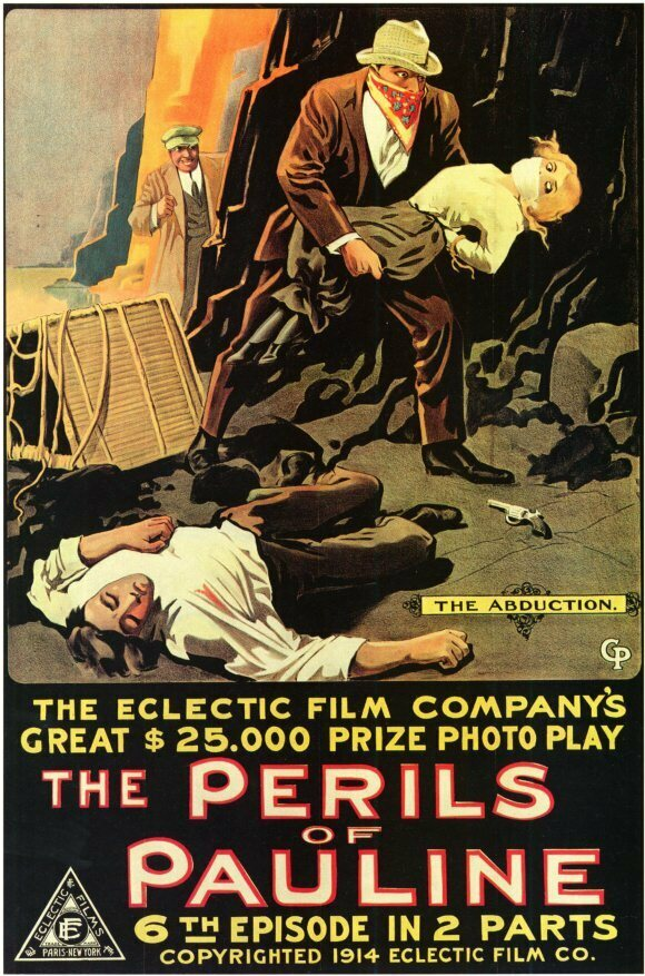 A poster for silent serial <em>The Perils of Pauline</em>