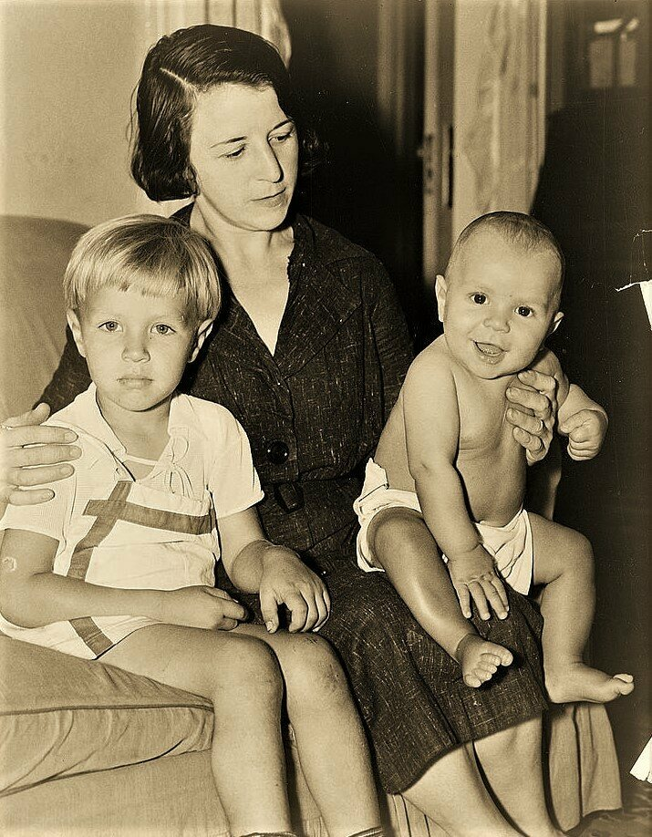 Celia Cooney with her sons Pat and Edward in 1936.