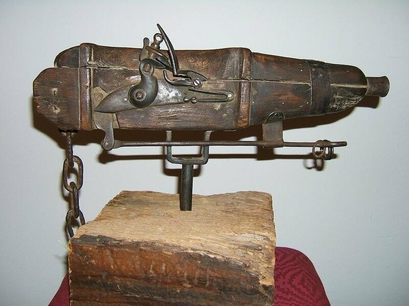 This rare cemetery gun was on view at the now defunct Museum of Mourning Art.