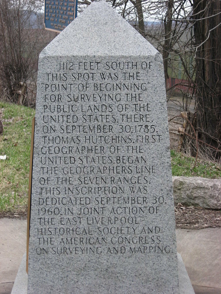 The marker where the survey began.