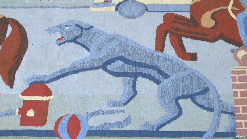 A detail of the hero of Ido Michaeli's tapestry.