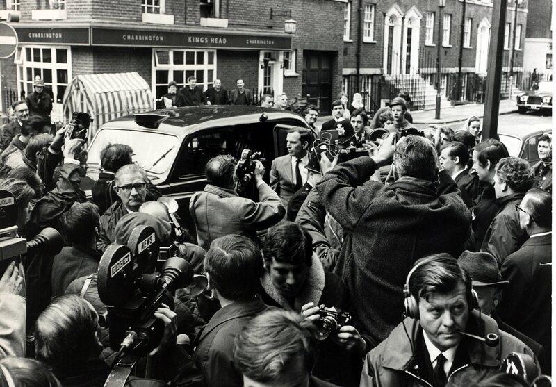 Dr. Christian Barnard arriving at the National Heart Hospital, 1968.